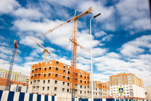 Construction.high-rise Cranes On Construction Of Houses