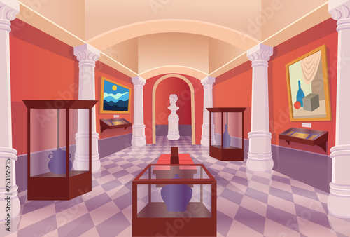 Cuadros en Lienzo Museum art gallery vector cartoon interior.