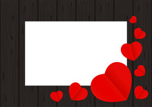 Red Hearts Shape On Black Wood For Banner Background Copy Space White Paper, Many Heart Shape On Wall Wooden Black, Red Heart Shaped On Wood For Love Card, Heart Shape Symbolizes Love