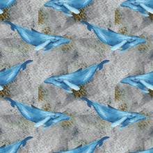 Watercolor Whales Seamless Pattern . Hand Drawn Illustration With Whales. Pattern With Hand Drawn Underwater Sea Fish. Contemporary Background And Print Design. Blue Whales On Gray Abstract Background