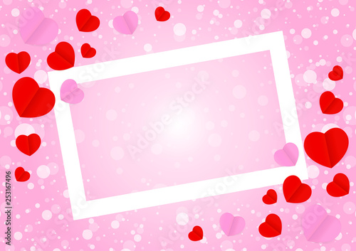 Empty White Frame And Red Pink Heart Shape For Template