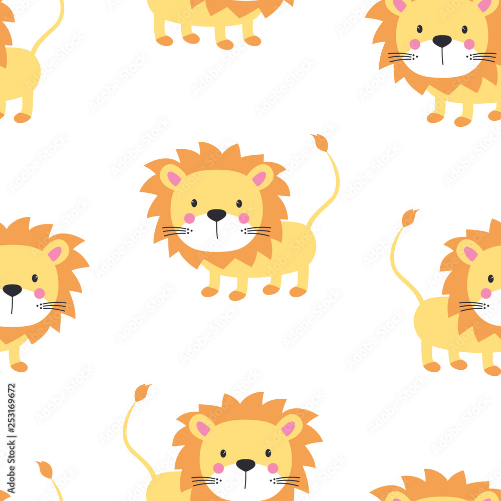 Fototapeta lion seamless pattern