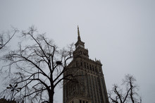 Palace Of Culture And Science In Warsaw, Poland With Overcast Sky