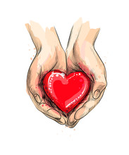 Female Hands Giving Red Heart From A Splash Of Watercolor