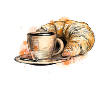 Cup Of Coffee And A Croissant