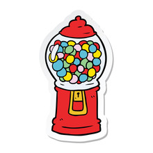 Sticker Of A Cartoon Gumball Machine