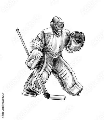 Hockey Goalie Player Hand Drawn Sketch Winter Sport Buy This