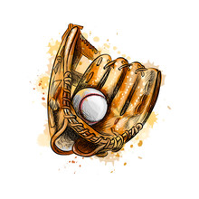 Baseball Glove With Ball From A Splash Of Watercolor