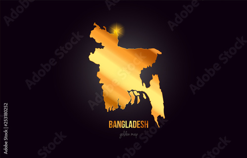 Photo Bangladesh country border map in gold golden metal color design