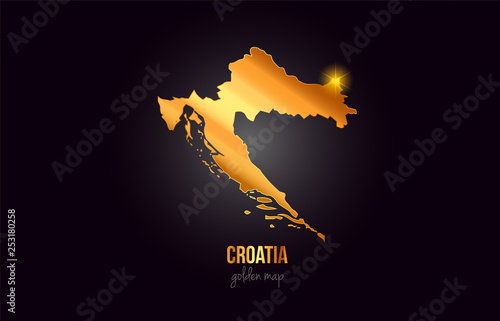 Fototapeta Croatia country border map in gold golden metal color design