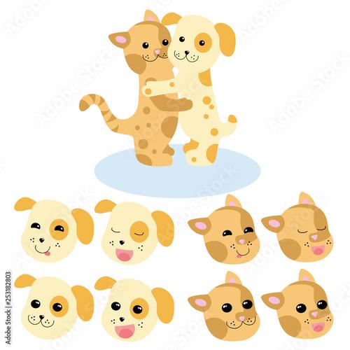 gato y perro. conjunto de caras con expresiones. ilustración - Vector #253182803