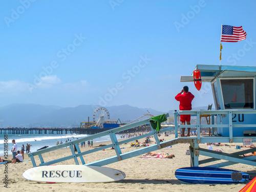 Lifeguard hut in Los Angeles, California Canvas Print