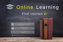 E - Learning Concept, Online Education Login Or Registration Screen Design