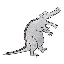 Quirky Hand Drawn Cartoon Crocodile
