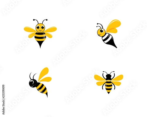 Leinwand Poster Bee logo vector icon illustration