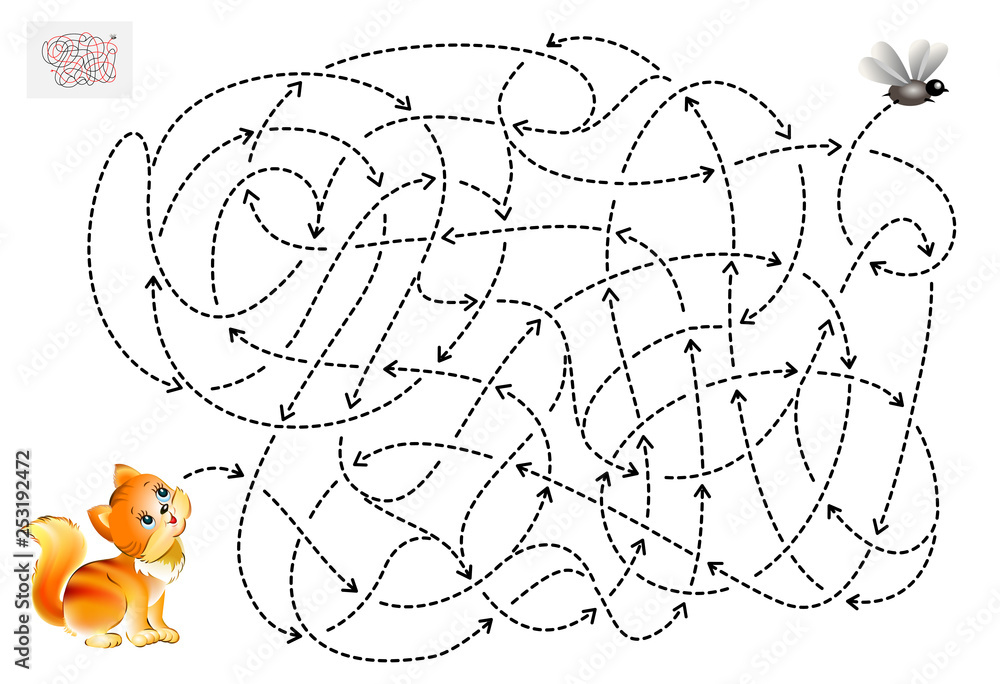 Fototapeta Logic puzzle game with labyrinth for children and adults. Help the kitten find the way till the fly. Printable page for brainteaser book. Vector cartoon image.