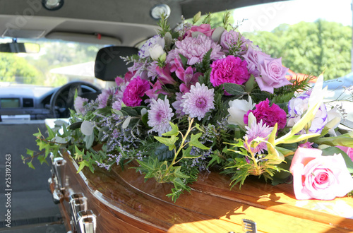 Fototapety, obrazy: closeup shot of a funeral casket in a hearse or chapel or burial at cemetery