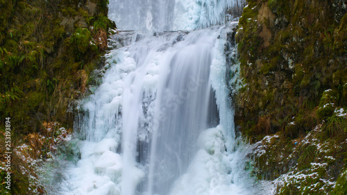 Icy Blue Frozen Waterfall in Oregon USA