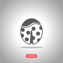 Ladybug Icon. Icon Under Spotlight. Gray Background