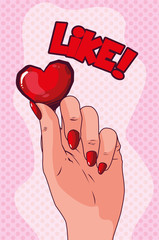 hand lifting heart pop art style
