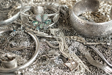 Close Up Of Various Silver Jewelry Items