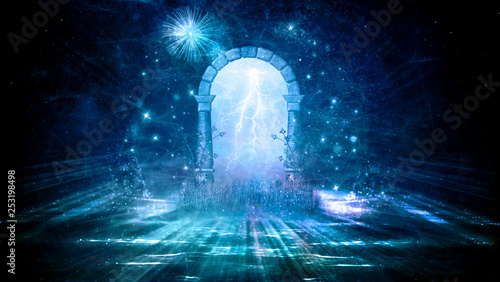 Photo  Colorful 3d Rendering Electrifying Artistic Gate That Leads to Another Dimension