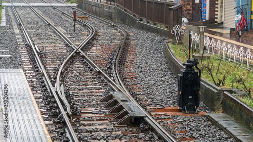 Photo Stands Railroad 雨の日の分岐器