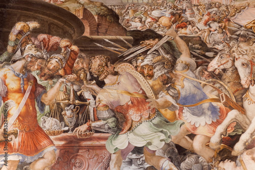 War scene on the wall with fresco, inside 14th century Palazzo Vecchio, Florence. Medieval art of Italy