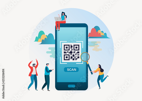 QR code scanning  People scan qr code for payment via