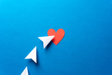 Three Paper Airplanes With Red Heart Shape On Blue Background. Sharing And Send Concept. With Red Heart Shape On Blue Background. Sharing And Send Symbol Concept. Social Media Concept.