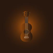 Summer Mini Guitar With Dark Chocolate Background. Vector Illustration.