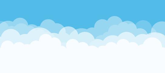 Plavo nebo i bijeli oblaci s prostorom za kopiranje. Koncept prirode. Vektorska ilustracija.