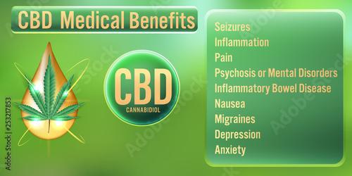 Fotografia  CBD (Cannabidiol) oil Medical Benefits.Vector Illustration