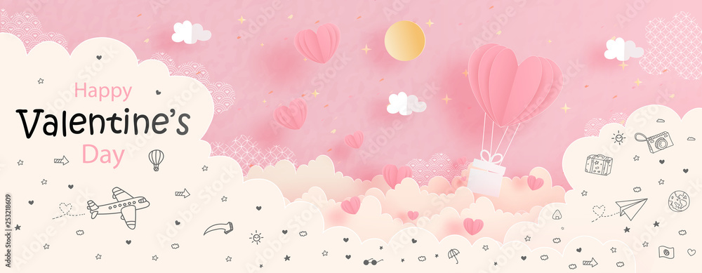 Fototapeta Valentines card with heart balloon in the sky, paper cut style vector illustration.