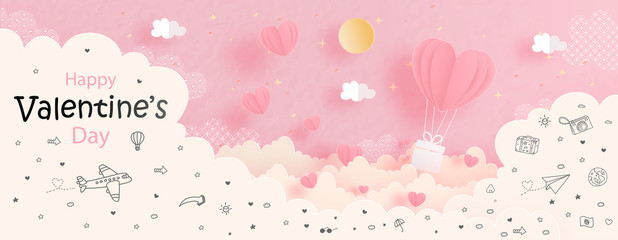 Valentines card with heart balloon in the sky, paper cut style vector illustration.