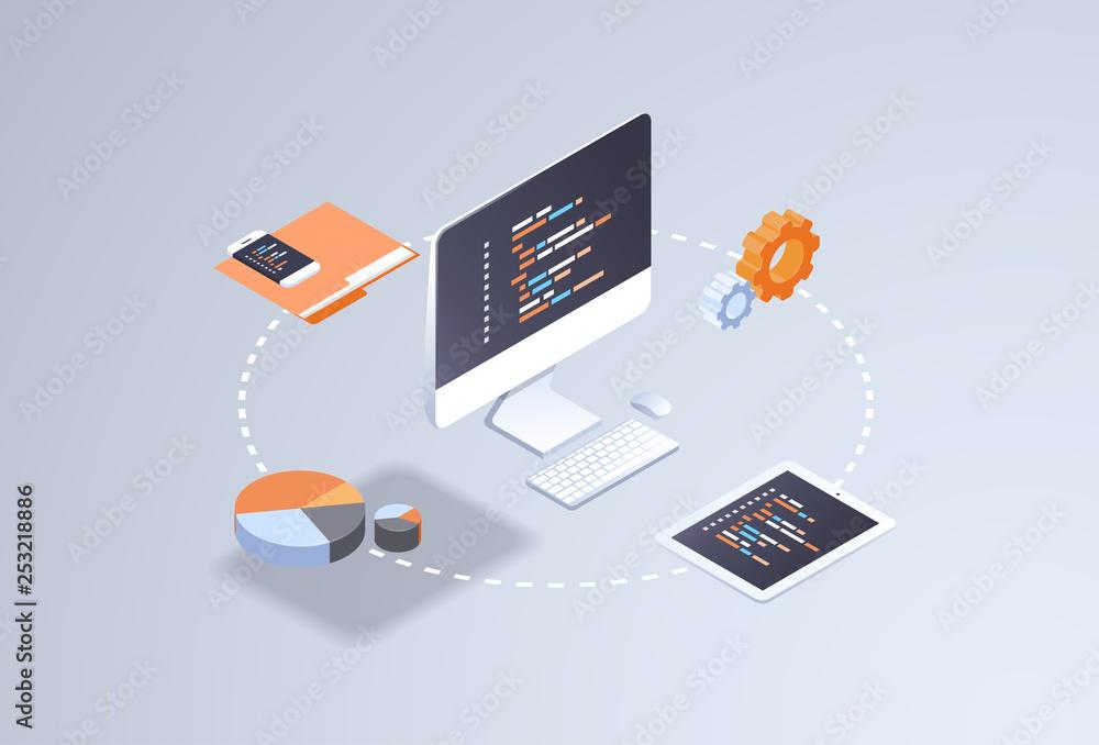 Fototapety, obrazy: software web site design development concept programming language program code big data processing on computer screen 3d isometric coding technologies flat horizontal vector illustration