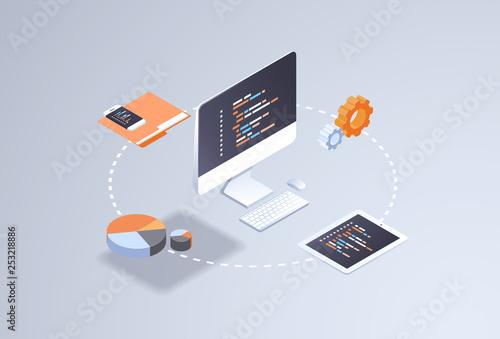 Slika na platnu software web site design development concept programming language program code b
