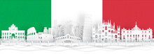Italy Flag And Famous Landmarks In Paper Cut Style Vector Illustration.