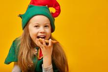 Beautiful Happy Cute Elf Eatin...