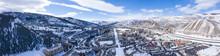 Avon Colorado USA Winter Panoramic View Ski Resort Town Snowy Mountain Peaks