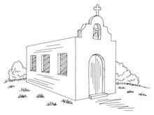 Church Exterior Graphic Black White Sketch Illustration Vector