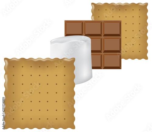 Vászonkép Ingredients for Smores