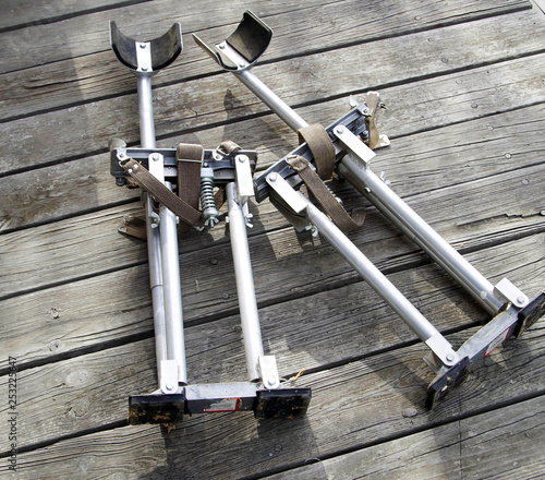 Obraz na plátne  Pair of aluminum drywall stilts