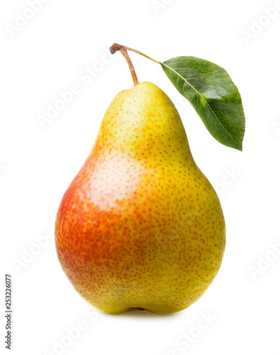 Fényképezés ripe pear with leaf isolated on white background