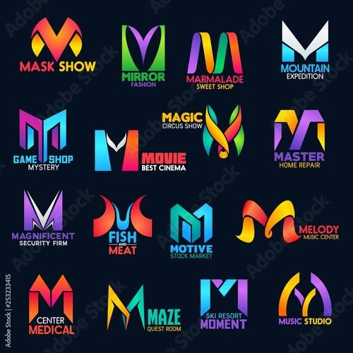 Photo Creative color design corporate identity M icons