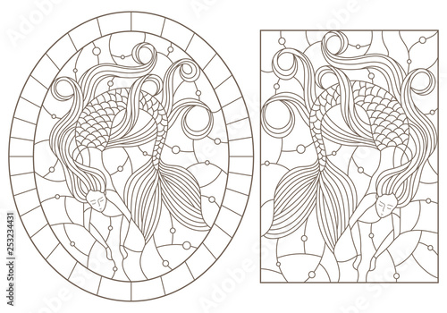 Fotografie, Obraz  Set of contour illustrations with mermaids on water and air bubbles background,