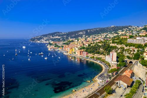 Cuadros en Lienzo Beach with boats Beausoleil, Nice, Nizza, Alpes-Maritimes, Provence-Alpes-Cote d