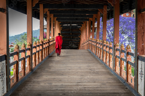Photo The beauty of Punakha Dzong is incomplete without its monks, drapped in red robe