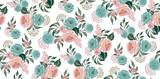 Wektorowa ilustracja bezszwowy kwiecisty wzór z wiosna kwiatami. Piękny kwiatowy tło w słodkich kolorach - 253240824