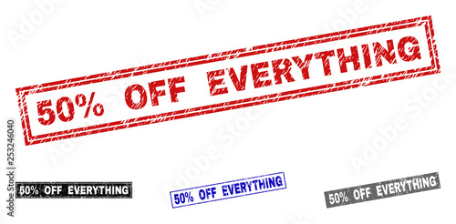 Grunge 50% OFF EVERYTHING rectangle stamp seals isolated on a white background Poster Mural XXL